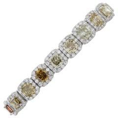 15.40 Carat Total Fancy Color Cushion Diamond Bracelet in Platinum