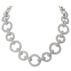 15.40 Carat White GVS Diamonds 18 Karat White Gold Circle Link Necklace