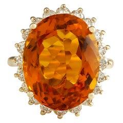15.42 Carat Natural Citrine 18 Karat Yellow Gold Diamond Ring