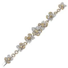 15.45 Carat Pear Shape Yellow and White Diamond 18 Karat Gold Floral Bracelet