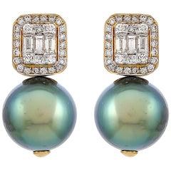 15.45 Carat Tahitian Pearl Diamond 18 Karat Yellow Gold Stud Earrings