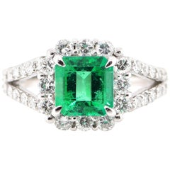 1.546 Carat Natural Emerald and Diamond Ring Set in Platinum
