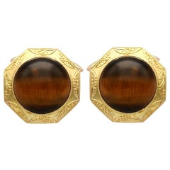 15.46 Carat Tigers Eye and Yellow Gold Cufflinks
