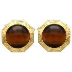 15.46 Carat Tigers Eye and Yellow Gold Cufflinks
