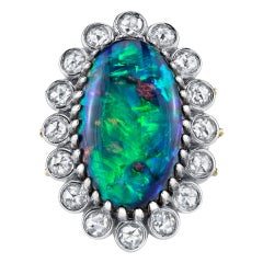 15.47 CT Lightning Ridge Opal Accented with 1.80 CT Rose Cut Diamonds 18KY/KW