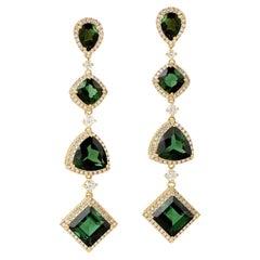 15.48 Carat Green Tourmaline Diamond 18 Karat Gold Earrings