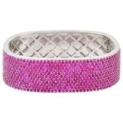 15.49 Carat Ruby Square Bangle Bracelet