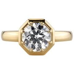 1.54 Carat Old European Cut Diamond Set in an 18 Karat Yellow Gold Ring