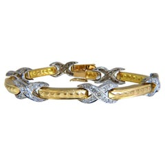 1.54ct Natural Round Diamonds x Bracelet 14 Karat Two-Tone