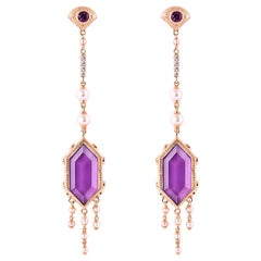 15.5 Carat Amethyst Earring in 18 Karat Rose Gold with Diamonds and Pearls