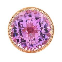 15.5 Carat Amethyst, Pink Tourmaline and Diamond Ring in 14 Karat Rose Gold