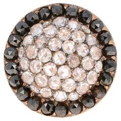 1.55 Carat Black and White Diamond 18 Karat Rose Gold Ring