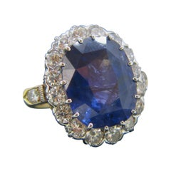15.5 Carat Burma No Heat Sapphire Diamond Cluster Yellow and White Gold Ring