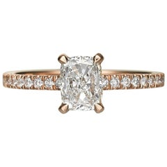 1.55 Carat Cushion Cut Diamond Engagement Ring on 18 Karat Rose Gold