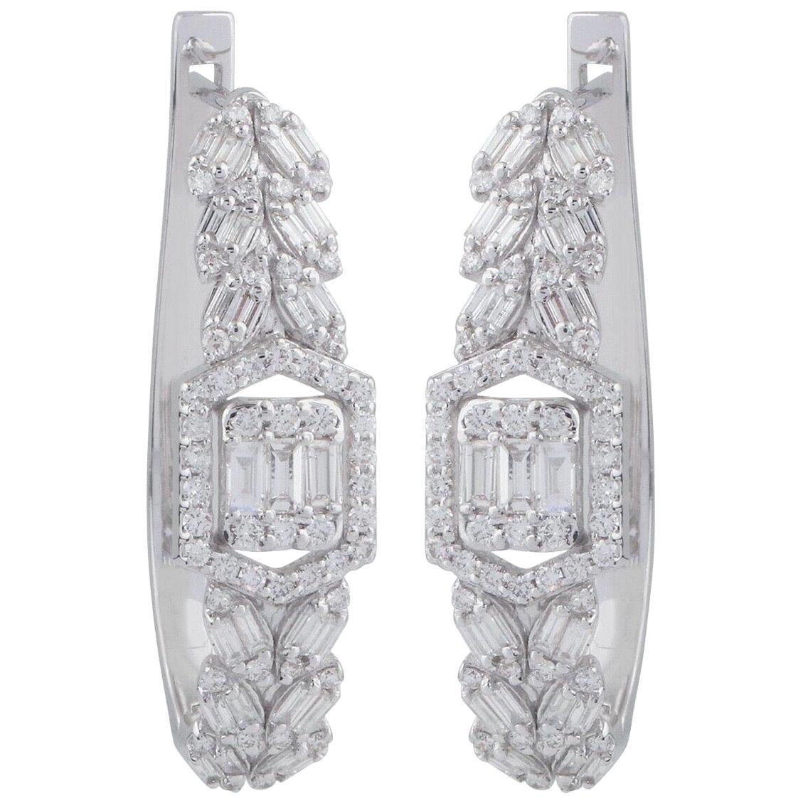 1.55 Carat Diamond 18 Karat White Gold Huggie Hoop Earrings