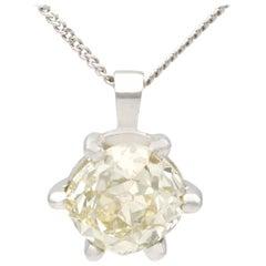 1.55 Carat Diamond and Platinum Solitaire Pendant