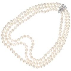 1.55 Carat Diamond Cultured Pearl White Gold Multi-Strand Necklace