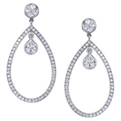 1.55 Carat Diamond Dangle Earrings 18 Karat White Gold