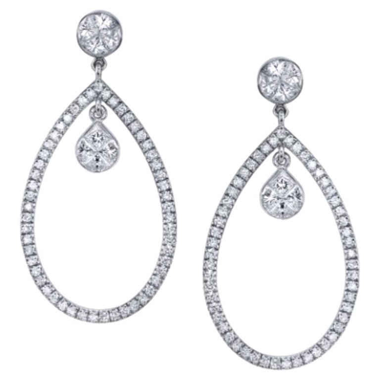 1.55 Carat Total Diamond and 18k White Gold Sasha Primak Dangle Earrings For Sale