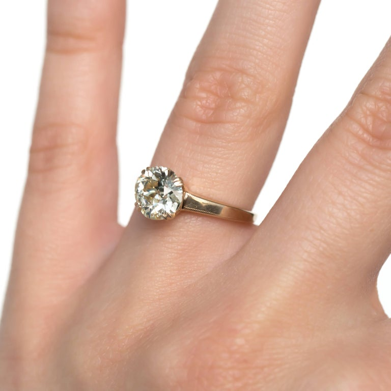 1.55 Carat Diamond Yellow Gold Engagement Ring For Sale At