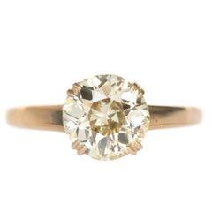 1.55 Carat Diamond Yellow Gold Engagement Ring