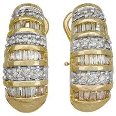 1.55 Carat Diamond Yellow Gold Hoop Lever Back Earrings