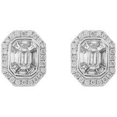 1.55 Carat Emerald Cut Diamond 18 Karat White Gold Stud Earrings