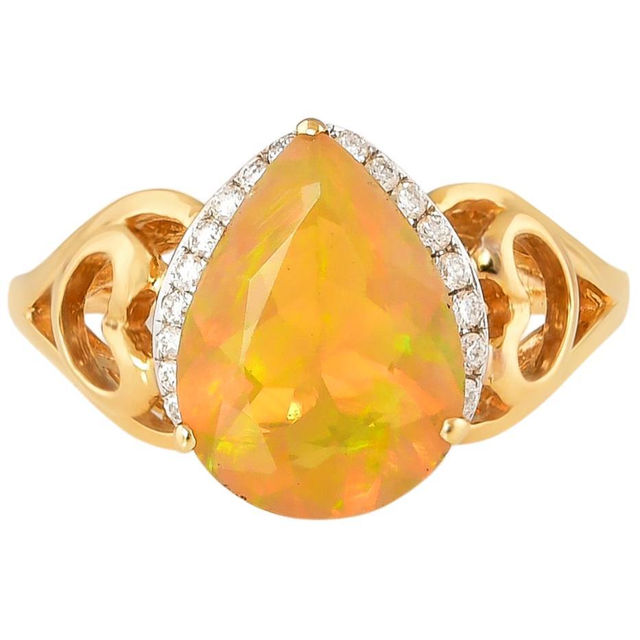 1.55 Carat Ethiopian Opal with Diamond Ring in 18 Karat Yellow Gold