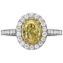 1.55 Carat Fancy Yellow Oval Cut Diamond Engagement Ring