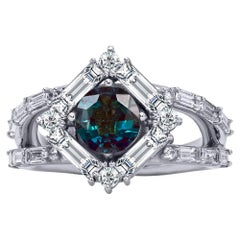 Mark Henry 1.55 Carat Natural Brazilian Alexandrite and Diamond Ring, 18 Karat