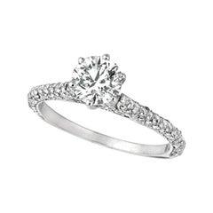 1.55 Carat Natural Diamond Engagement Ring G SI 14 Karat White Gold