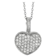 1.55 Carat Natural Diamond Heart Necklace Pendant 14 Karat White Gold G SI
