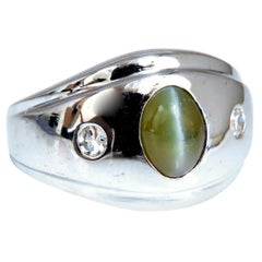 1.55 Carat Natural Green Chrysoberyl Cats Eye Diamonds Ring 14 Karat Fine Line