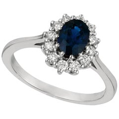 1.55 Carat Natural Oval Sapphire and Diamond Ring 14 Karat White Gold