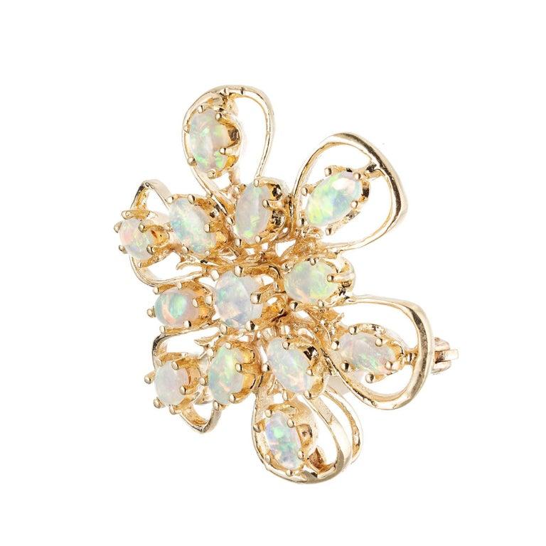 Women's 1.55 Carat Opal Yellow Gold Brooch Pendant For Sale