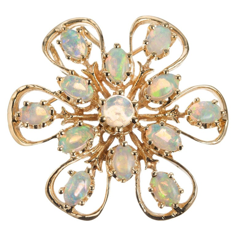 1.55 Carat Opal Yellow Gold Brooch Pendant For Sale