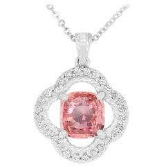 1.55 Carat Padparadscha Sapphire and 0.24 Carat White Diamond Pendant