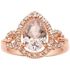 1.55 Carat Pear Shaped Pink Morganite and Diamond Ring