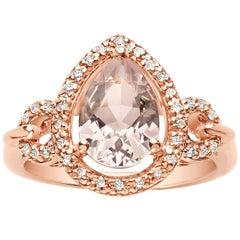 1.55 Carat Pear Shaped Pink Morganite and White Diamond Ring 14 Karat Rose Gold
