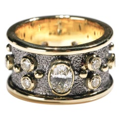 1.55 Carat Round and Oval Diamond 18 Karat Gold Full Band Ring US Size 8