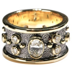 1.55 ct Round and Oval Diamond 18 Karat Yellow Gold Full Band Ring US Size 9