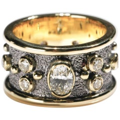1.55 Carat Round and Oval Diamond 18 Karat Gold Full Band Ring US Size 6