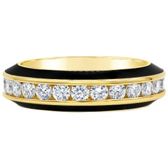1.55 Carat Round Diamond Black Enamel Ring