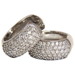 1.55 Carat Round Natural Diamond Huggie Earrings 14 Karat Bead Set
