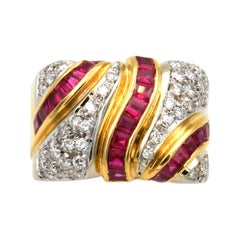 1.55 Carat Ruby and Diamond Band Ring in 18k Gold