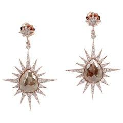 15.5 Carat Rustic Starburst Diamond 18 Karat Gold Earrings
