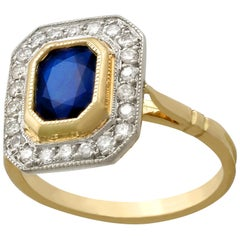 1.55 Carat Sapphire and Diamond Yellow Gold Cluster Ring, Vintage