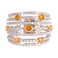 1.55 Carat Yellow and White Diamond Ring