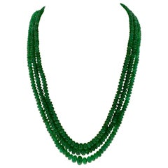 155 Carat 3 Layer Brazilian Emerald Bead Necklace Sterling Silver Clasp