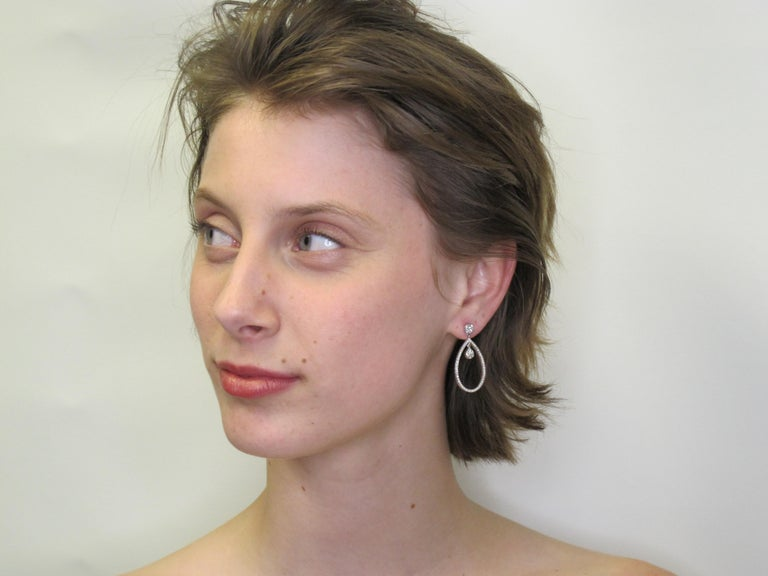 Artisan 1.55 Carat Total Diamond and 18k White Gold Sasha Primak Dangle Earrings For Sale